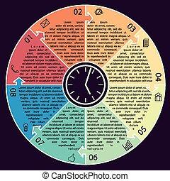 infographic, kruh, vektor, business osvětlení