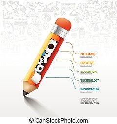 infographic, lápis, usado, engrenagem, ser, illustration.education, esquema, concept.can, idea., vetorial, teia, doodles, linha, bandeira, desenho, design.