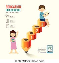 infographic, lápis, usado, illustration., sucesso, ser, concept., esquema, idea., teia, passo, vetorial, lata, criança, educação, bandeira, design.