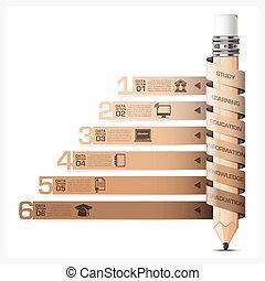 infographic, lápiz, espiral, diagrama, etiqueta,...