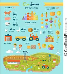 infographic, lakás, alapismeretek, eco, tanya, vektor, tervezés