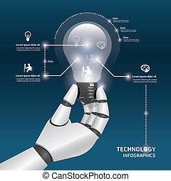 infographic, lampadine, luce, concept., robot, illustrazione, mano, vettore, disegno, sagoma, presa