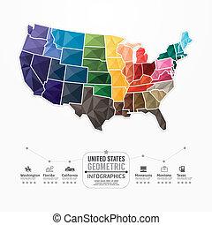 infographic, landkarte, begriff, banner., vereint, abbildung, staaten, vektor, schablone, geometrisch