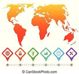 infographic, landkarte, geschaeftswelt, vektor, schablone, welt, darstellung