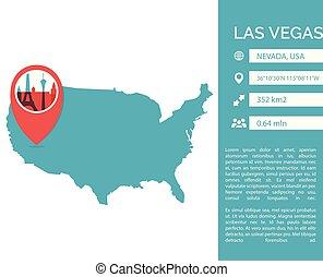 infographic, landkarte, las vegas, abbildung, vektor, las