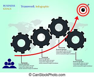 infographic, lavoro squadra, mete, affari