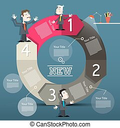 Infographic Layout. Infographics with Big Circle Arrow and Businessmen.