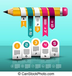 Infographic Layout. Vector Infographics Web Design with Big Pencil and Paper Labels.