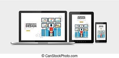 infographic, lejlighed, begreb, konstruktion