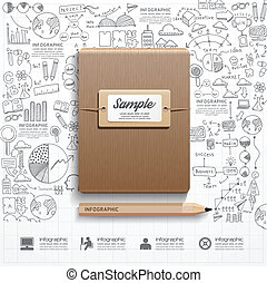 infographic, libro, con, doodles, dibujo lineal, éxito,...