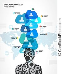 infographic, média, concept, nuage, social