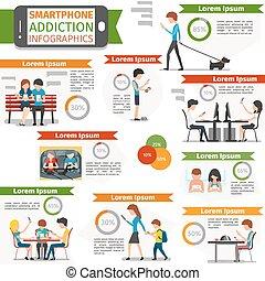 infographic, mídia, social, vetorial, internet, vício, smartphone