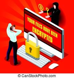 infographic,  malware,  ransomware,  Cyber, 犯罪, ベクトル, イラスト