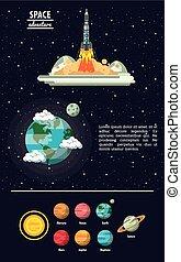 infographic, manière, planètes, laiteux