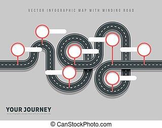 infographic, mapa, droga, szary, meandrowy, wektor, tło, nawigacja, droga