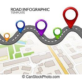 infographic, mapa, rua, coloridos, alfinete, infographic., negócio ilustração, vetorial, modelo, pointer., estrada, design.