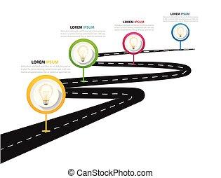 infographic, mapa, rua, imagem, quatro, vetorial, modelo, estrada