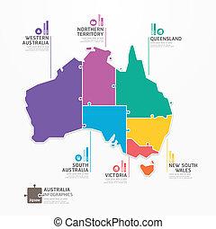 infographic, mappa, concetto, banner., jigsaw, illustrazione, australia, vettore, sagoma