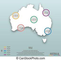 infographic, mappa, diapositiva, australia, sagoma
