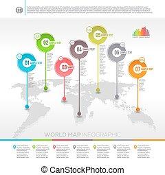 infographic, mappa, puntatori, -, vettore, disegno, sagoma, mondo