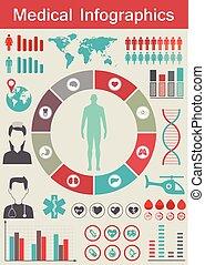 infographic, medico, vettore, set., illustration.