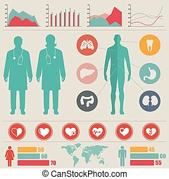 infographic, medizin, vektor, set., illustration.