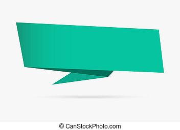 infographic, mer, isolé, collection, papier, arrière-plan vert, origami, blanc, bannière, ruban