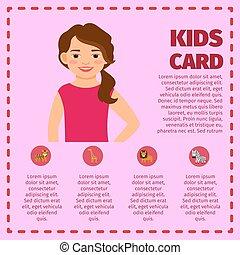 infographic, met, meisje, en, dierentuin, dieren