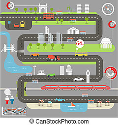 infographic, miasto, abstrakcyjny, elementy, mapa