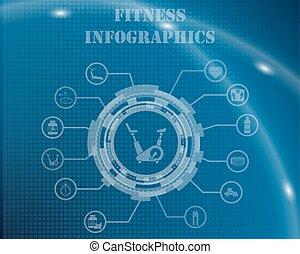 infographic, modelo, condicão física