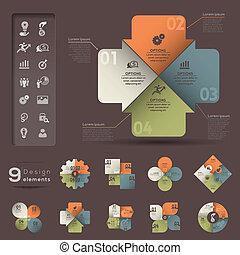 infographic, modelo, elemento