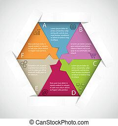 infographic, modelo, hexágono