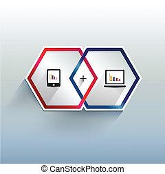 infographic., moderne, 3, hexagonal, d
