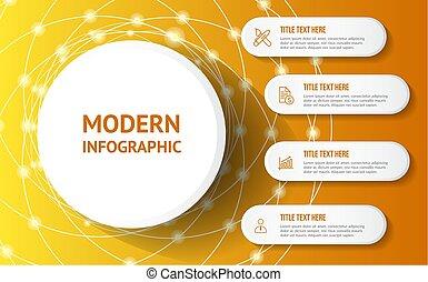 infographic, moderne, fond, jaune, gabarit