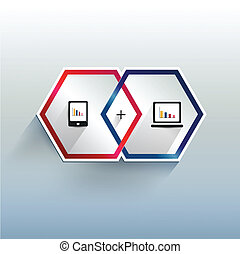 infographic., moderno, 3, esagonale, d