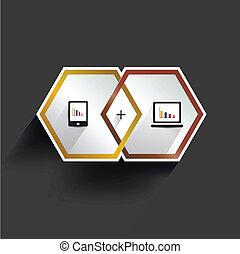 infographic., moderno, 3, hexagonal, d