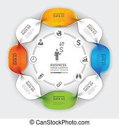infographic, moderno, spirale, affari