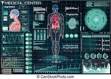 infographic, monde médical, hud., santé, healthcare
