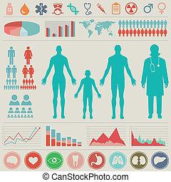 infographic, monde médical, vecteur, set., illustration.