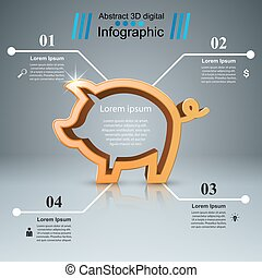 infographic., monnaie, -, business, cochon