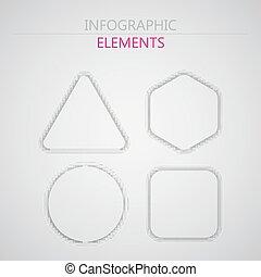 infographic, nät, sätta, abstrakt, formar, vektor, papper, tryck, 3, eller, elementara, design.