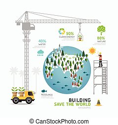 Infographic nature care template design.building save the world concept vector illustration / graphic or web design layout.