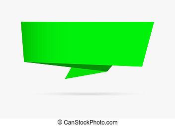 infographic, nature, isolé, collection, papier, arrière-plan vert, origami, blanc, bannière, ruban