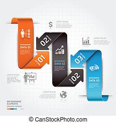 infographic., negócio moderno, seta