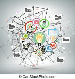 Infographic network with icons for business vector template