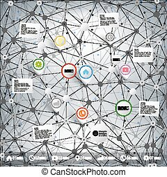 Infographic network with pointer marks for business, template vector