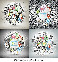 Infographic networks set with icons for business vector templates