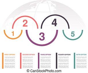 infographic, netz- design, diagram., globe., geschaeftswelt, workflow, options., marketing, jährlich, plan, bericht, vektor, schritte, schablone, fünf, 5, design
