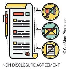 infographic., niet-onthulling, lijn, overeenkomst
