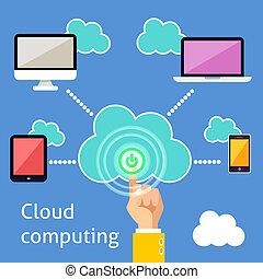 infographic, nuage, calculer